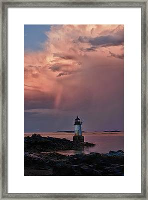 Summer Storm Squall Passes Fort Pickering Lighthouse Framed Print
