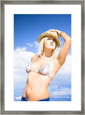 Summer Woman Wearing Straw Hat Framed Print by Jorgo Photography - Wall Art Gallery
