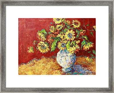 Sun Drenched Sunflowers Framed Print