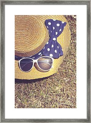 Sun Hat On Dry Australian Grass Background Framed Print by Jorgo Photography - Wall Art Gallery