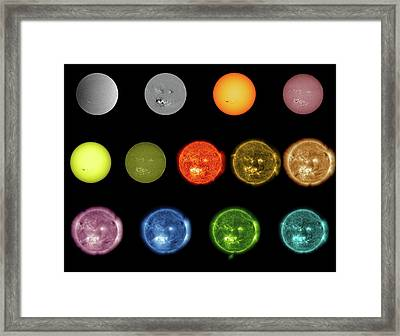 Sun Observed At Different Wavelengths Framed Print