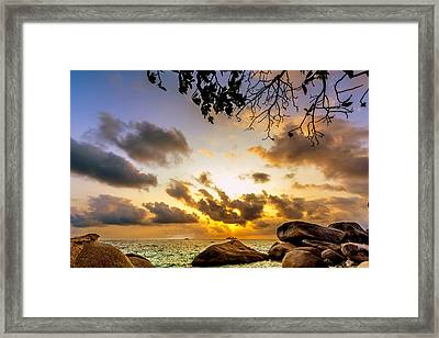 Sun Sand Sea And Rocks Framed Print by Jijo George