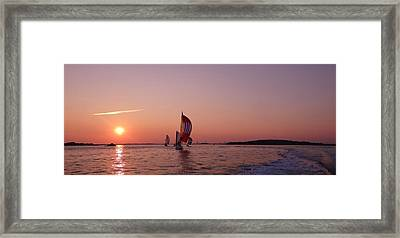 Sun Setting Over Boston Series Framed Print