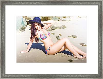 Sunbathing Woman Tanning In The Sun Framed Print by Jorgo Photography - Wall Art Gallery