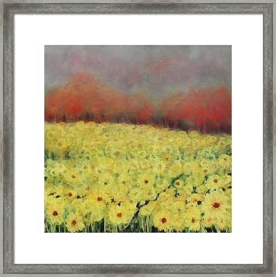 Framed Print featuring the painting Sunflower Days by Katie Black
