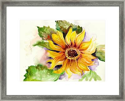 Sunflower Watercolor Framed Print by Tiberiu Soos