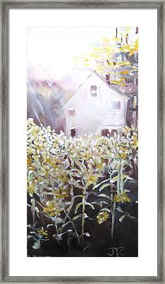 Framed Print featuring the painting Sunflowers by Julie Todd-Cundiff