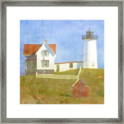 Sunny Day At Nubble Lighthouse Framed Print