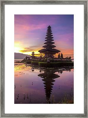 Sunrise At Bali Water Temple, Ulun Danu Framed Print by Emily Wilson