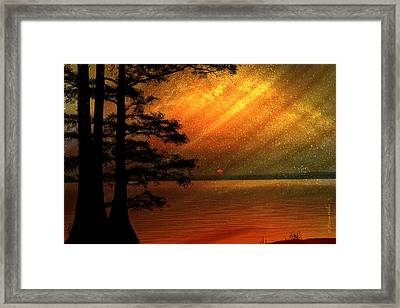 Framed Print featuring the digital art Sunrise At Reelfoot Lake by J Larry Walker