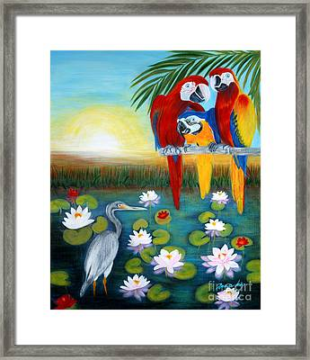 Framed Print featuring the painting Sunrise In Paradise. Inspirations Collection. by Oksana Semenchenko