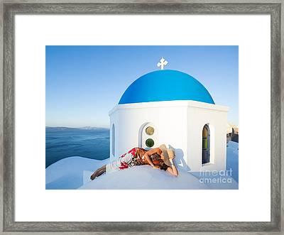 Sunrise On Blue Domed Church Oia Santorini Greece Framed Print by Matteo Colombo