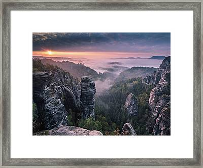 Sunrise On The Rocks Framed Print by Andreas Wonisch