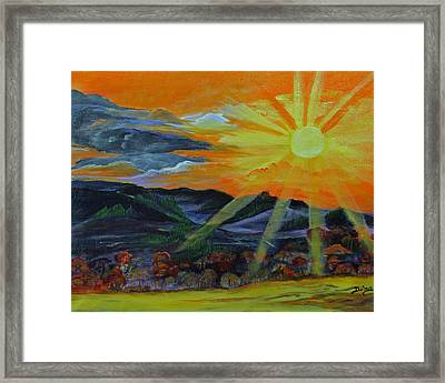 Sunrise Over The Mountains Framed Print by Dina Jacobs