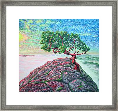Framed Print featuring the painting Sunrise.mountains. by Viktor Lazarev