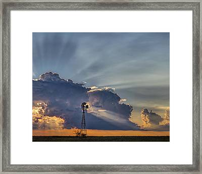 Sunset And Windmill Framed Print