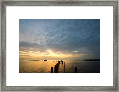 Sunset At A Weathered Pier At Port Charlotte Harbor Near Punta  Framed Print by Fizzy Image