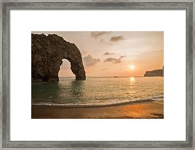 Sunset At Durdle Door Framed Print