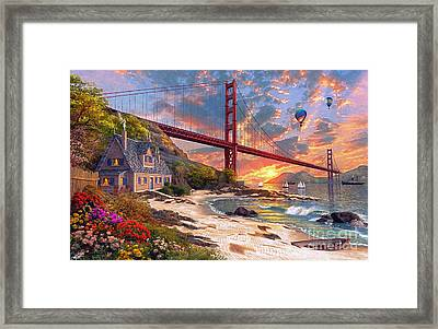 Sunset At Golden Gate Framed Print