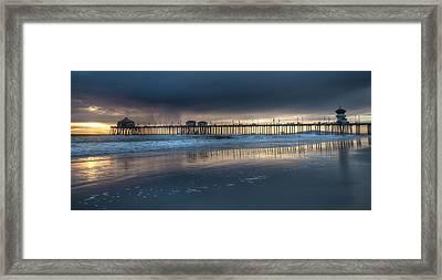 Approaching Storm Huntington Beach Pier Framed Print