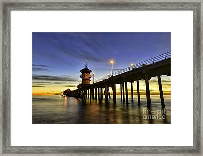 Sunset At Huntington Beach Pier  Framed Print by Peter Dang