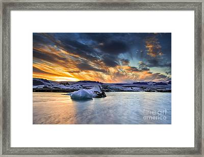 sunset at Jokulsarlon iceland Framed Print by Gunnar Orn Arnason