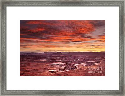 Framed Print featuring the photograph Sunset At The Green River Overlook by Roman Kurywczak