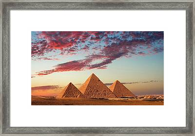 Sunset At The Pyramids, Giza, Cairo Framed Print by Nick Brundle Photography