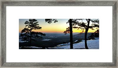 Framed Print featuring the photograph Sunset Atop Snowy Mt. Nebo by Jason Politte