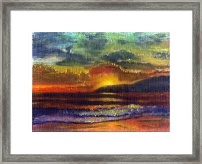 Sunset Beach Framed Print by Linda Pope