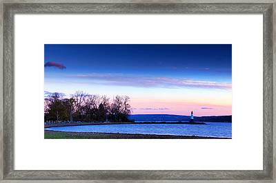 Sunset In Cayuga Lake Ithaca New York Panoramic Photography Framed Print by Paul Ge