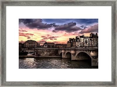 Sunset In Paris Framed Print by Radoslav Nedelchev