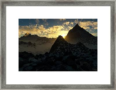 Sunset In The Stony Mountains Framed Print by Hakon Soreide