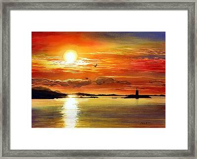 Sunset Lake Framed Print by Hailey E Herrera