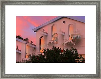 Sunset On Houses Framed Print by Augusta Stylianou