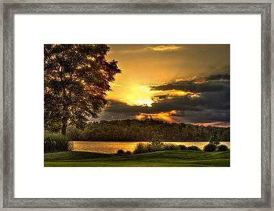 Sunset Golf Hole Lake Oconee Framed Print by Reid Callaway