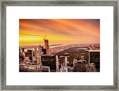 Sunset Over Central Park And The New York City Skyline Framed Print by Vivienne Gucwa