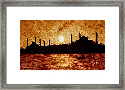 Framed Print featuring the painting Sunset Over Istanbul Original Coffee Painting by Georgeta  Blanaru