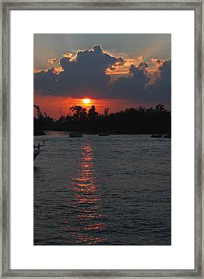 Sunset Over The Cape Fear II Framed Print by Suzanne Gaff