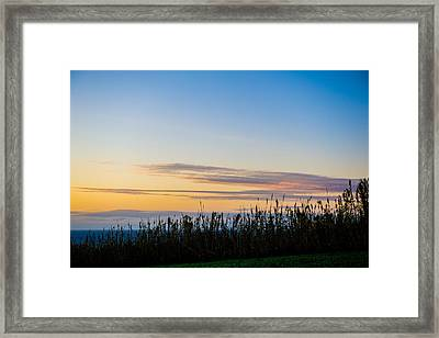 Sunset Over The Field Framed Print
