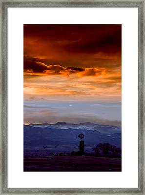 Framed Print featuring the photograph Sunset Over The Rockies by Kristal Kraft