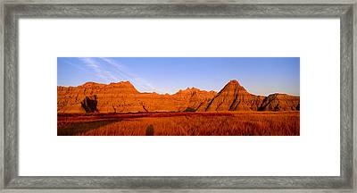 Sunset Panoramic View Of Mountains Framed Print