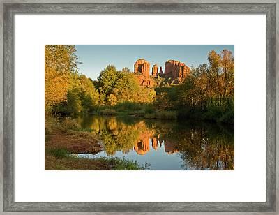 Sunset, Reflections, Oak Crek Framed Print