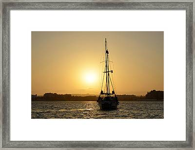 Sunset Sailing In Cabo Framed Print