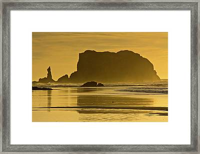 Sunset, Sea Stacks, Bandon By The Sea Framed Print