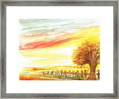 Framed Print featuring the painting Sunset by Teresa White