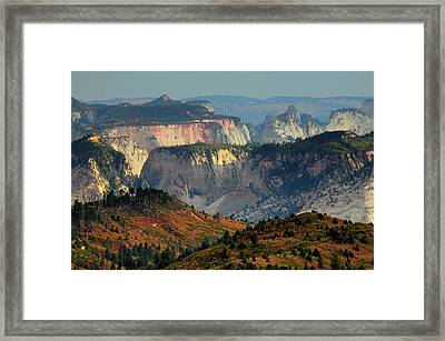 Sunset, View From Kolob Terrace, Zion Framed Print