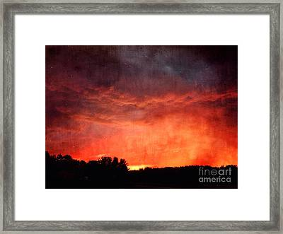 Sunset With Approaching Storm Framed Print by HD Connelly