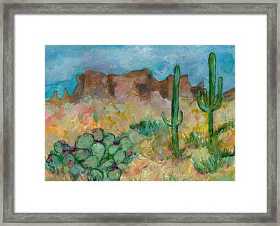 Framed Print featuring the painting Superstition Mountains Arizona by Elaine Elliott