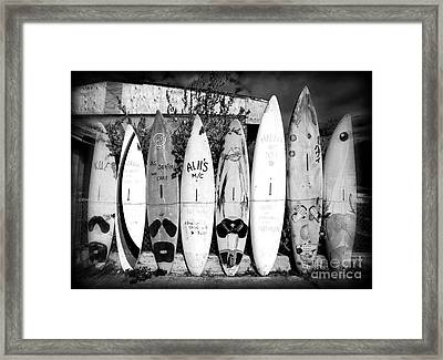 Surf Board Fence Maui Hawaii Framed Print by Edward Fielding